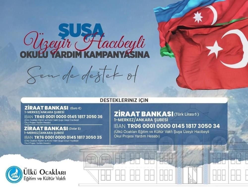 Ülkü Ocakları'mdan kardeş ülke Azerbaycan'daki okul projesi için yardım kampanyası