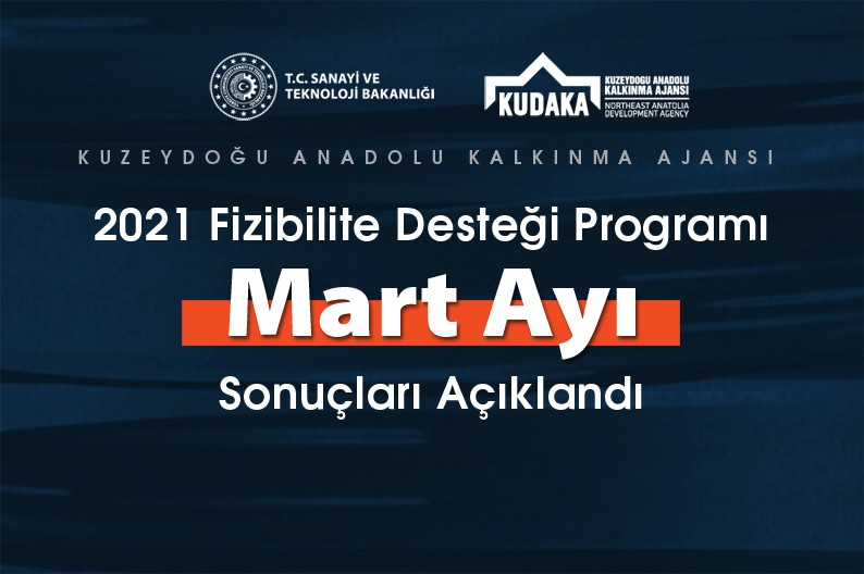 KUDAKA 2021 yılı fizibilite desteği programı Mart ayı sonuçları açıklandı